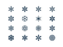 Snowflake icons. Set of 16 snow flake icons Stock Photo