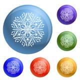 Snowflake icons set vector stock illustration