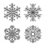 Snowflake Icons Set on White Background. Vector Stock Image