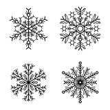 Snowflake Icons Set on White Background. Vector Royalty Free Stock Photo