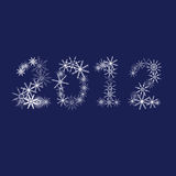 Snowflake 2012 illustration. On blue background royalty free illustration
