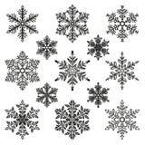 Snowflake illustration set Royalty Free Stock Photos