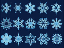 Snowflake Illustrations. 15 Detailed snowflake illustrations great for web design Stock Image