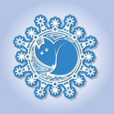 Snowflake with image of a fox. Stock Images
