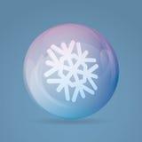 Snowflake Inside Colorful Ball. Christmas Illustration Stock Photo
