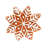 Snowflake Isolate. Christmas Cookie on White Stock Photos