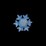 Snowflake isolated on black background. This is real snow crystal, around 3 millimeters from tip to tip, with unusual big, flat and empty central hexagon stock photo