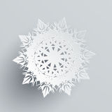 Snowflake Isolated on Silver. Realistic Flake Royalty Free Stock Photo