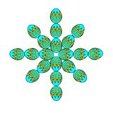 Snowflake from items Easter egg. Concept design greeting cards New year. Snowflake from items Easter egg. Abstract hand drawn snowflake in the European style Stock Image