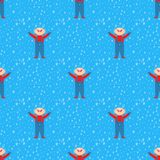 Snowflake kid vector weather traditional winter seamless pattern child december wrapping paper christmas background. Stock Photography
