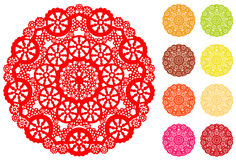 Snowflake Lace Doily, 9 Bright colors Stock Images
