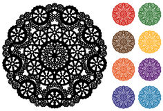 Snowflake Lace Doily, 9 Jewel tones. Snowflake doily design in black, red, green, gold, brown, orange, purple, blue and aqua for scrapbooks, celebrations Stock Images