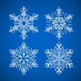 snowflake Le icone di vettore hanno impostato La neve di Natale dell'inverno è un elemento di cristallo piano illustrazione di stock