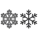 Snowflake line and glyph icon, New year stock illustration