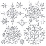 Snowflake with long shadow.Winter doodle set Stock Images