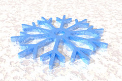 Snowflake lying on ice Royalty Free Stock Photography