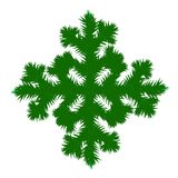 A snowflake made of Christmas tree branches, Christmas Greetings, New Year. The concept for the winter holidays. A snowflake made of Christmas tree branches Stock Image