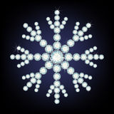 Snowflake made from diamonds. Royalty Free Stock Image