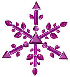 Snowflake made from different cut amethysts Royalty Free Stock Image