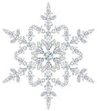 Snowflake made from different cut diamonds. Illustration of snowflake made from different cut precious stones Stock Photo