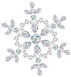 Snowflake made from different cut diamonds Royalty Free Stock Photography