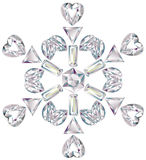 Snowflake made from different cut diamonds. Illustration of snowflake made from different cut diamonds isolated on white Royalty Free Stock Photo