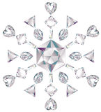 Snowflake made from different cut diamonds. Illustration of snowflake made from different cut diamonds isolated on white Stock Image
