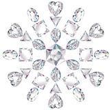 Snowflake made from different cut diamonds Royalty Free Stock Image