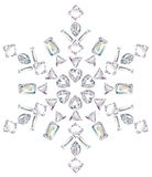 Snowflake made from different cut diamonds isolate. Illustration of snowflake made from different cut diamonds isolated on white Stock Image