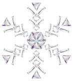 Snowflake made from different cut diamonds isolate. Illustration of snowflake made from different cut diamonds isolated on white Royalty Free Stock Photography
