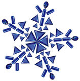 Snowflake made from different cut sapphires. Vector illustration of snowflake made from different cut sapphires isolated on white Stock Images