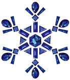 Snowflake made from different cut sapphires isolat. Vector illustration of snowflake made from different cut sapphires isolated on white Royalty Free Stock Photo