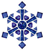 Snowflake made from different cut sapphires isolat. Vector illustration of snowflake made from different cut sapphires isolated on white Stock Photography
