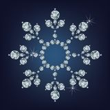 Snowflake made a lot of from diamonds. Royalty Free Stock Photography
