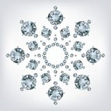 Snowflake made a lot of from diamonds. Stock Photos