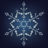 Snowflake made a lot of from diamonds. Stock Photography