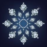 Snowflake made a lot of from diamonds. Stock Image