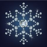Snowflake made a lot of from diamonds. Stock Photo