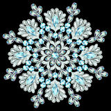 Snowflake made of precious stones on black background Stock Images