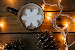 Snowflake Marshmallow Hot Cocoa Topper royalty free stock images