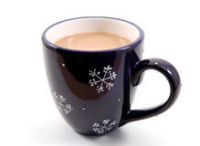 Snowflake Mug. Dark blue coffee mug with white snowflakes on a white background Stock Photos