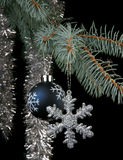 Snowflake and New Year's sphere Royalty Free Stock Image