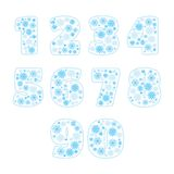 Snowflake numbers set vector illustration Royalty Free Stock Photo