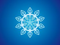 Snowflake ornament, blue rosette. Light blue rosette with stylized hearts ornamentation on blue radial background Royalty Free Stock Photography