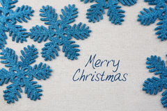 Snowflake ornaments and Christmas Greeting Stock Image