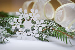 Snowflake out of paper on the background of snow-covered trees Stock Images