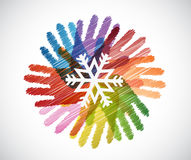 Snowflake over diversity hands circle illustration Royalty Free Stock Photos
