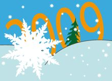 Snowflake over new year's numbers. New Year's and Christmass collection of illustrations stock illustration