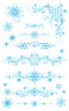 Snowflake page dividers and decorations  on white backgr Royalty Free Stock Image