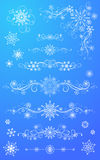 Snowflake page dividers and decorations. Royalty Free Stock Photography